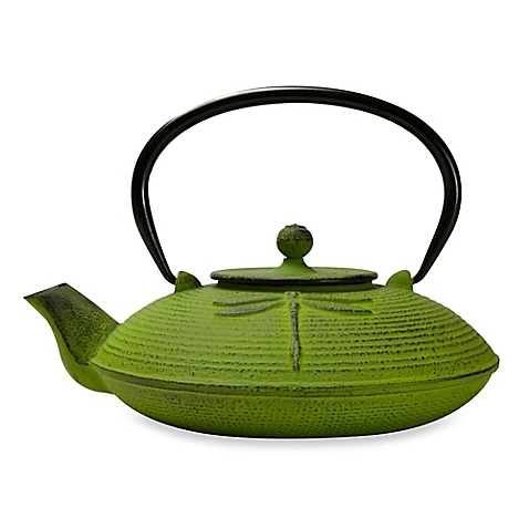 Dragonfly 26 oz Cast Iron Teapot - Green