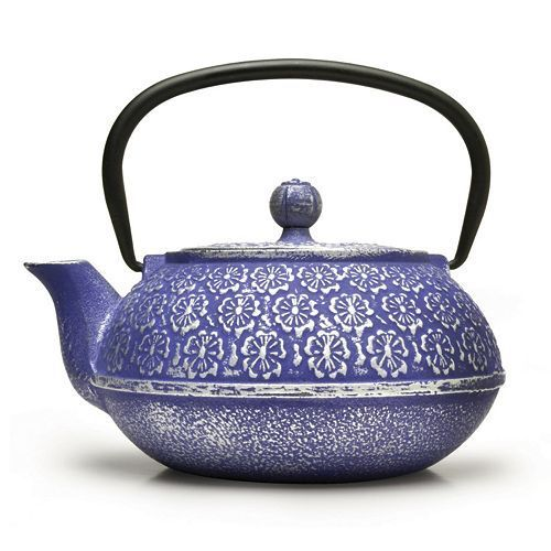 Blue Floral 34 oz. Cast Iron Teapot